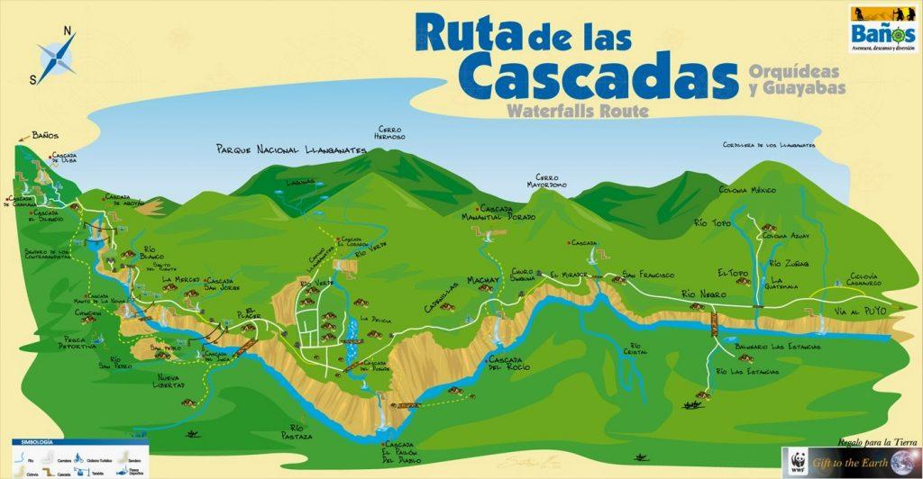 Map of the Ruta de las Cascadas